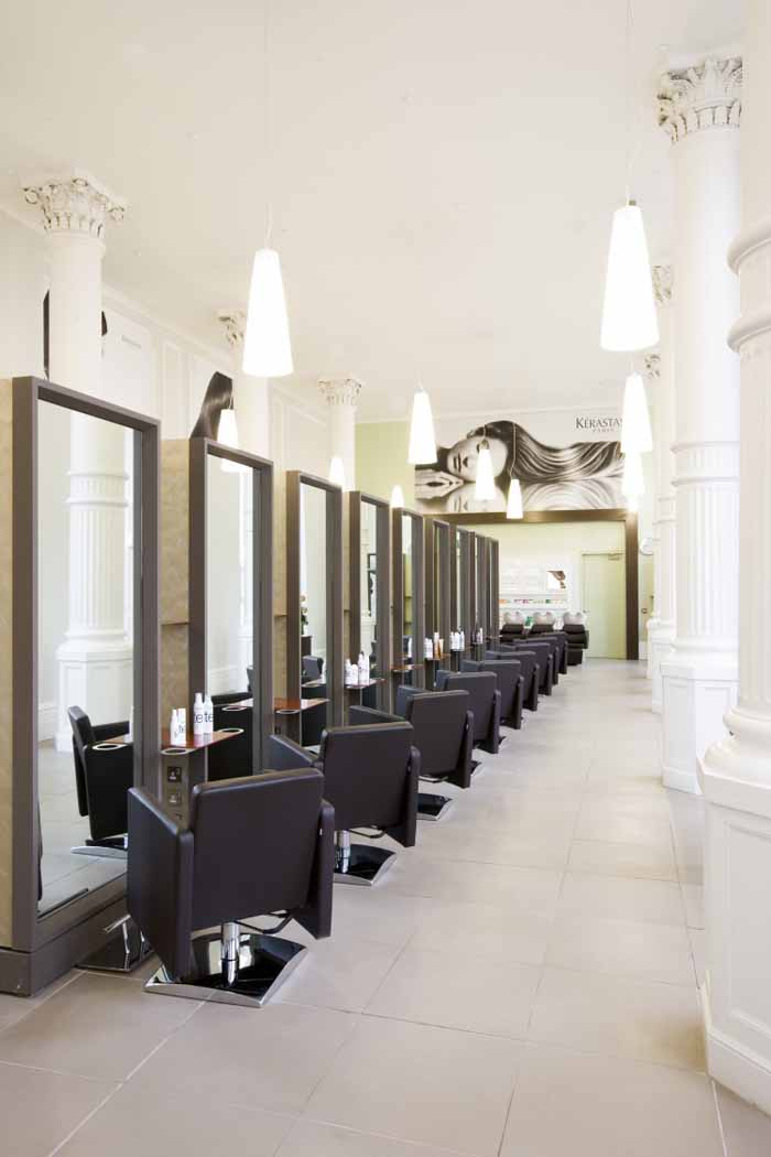 Beauty salon floor plans hair salon design hair salon for Salon decor